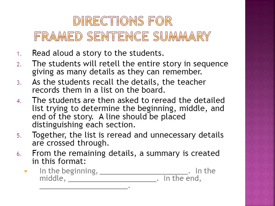 Directions for Framed Sentence Summary