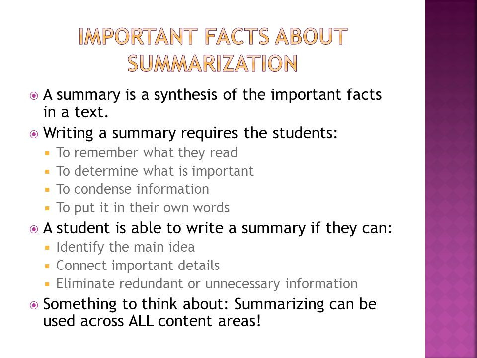 Important Facts about summarization