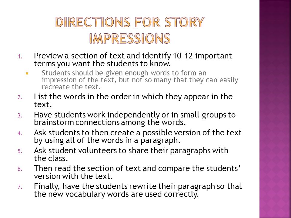 Directions for Story Impressions