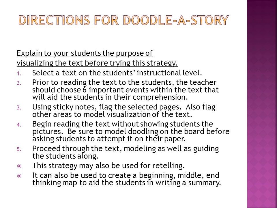 Directions for doodle-a-story