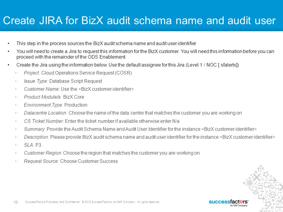 Create JIRA for BizX audit schema name and audit user