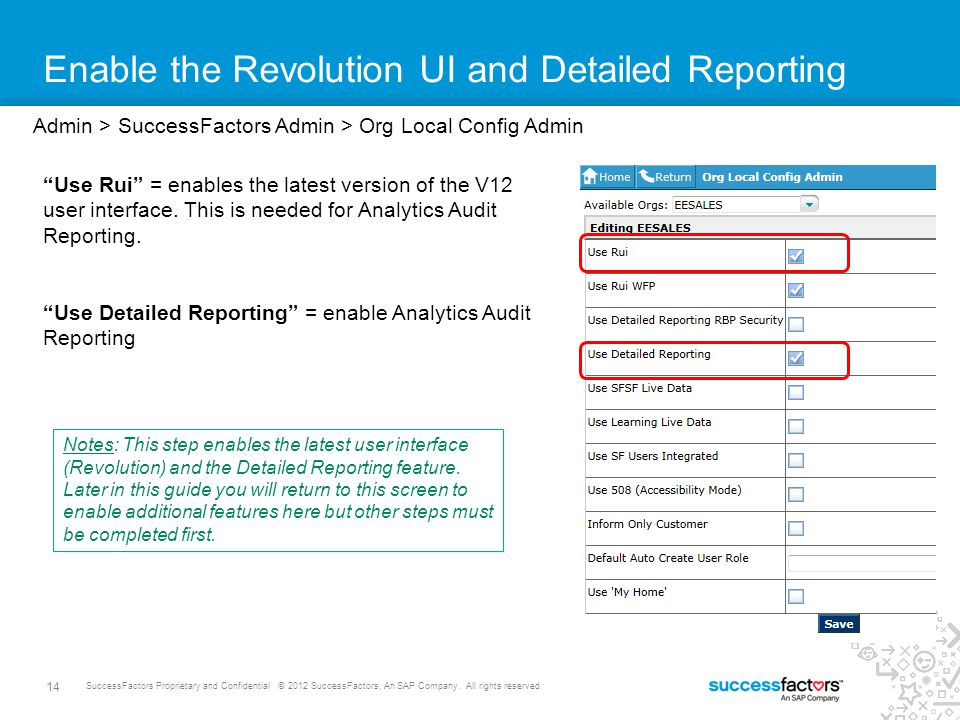Enable the Revolution UI and Detailed Reporting