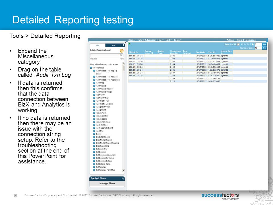 Detailed Reporting testing