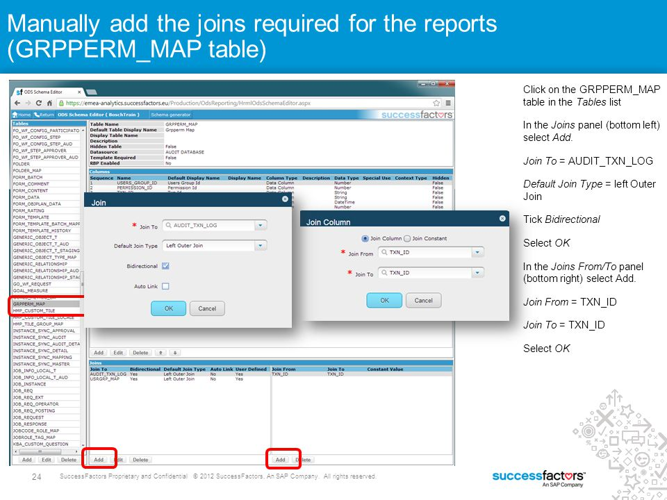 Manually add the joins required for the reports (GRPPERM_MAP table)