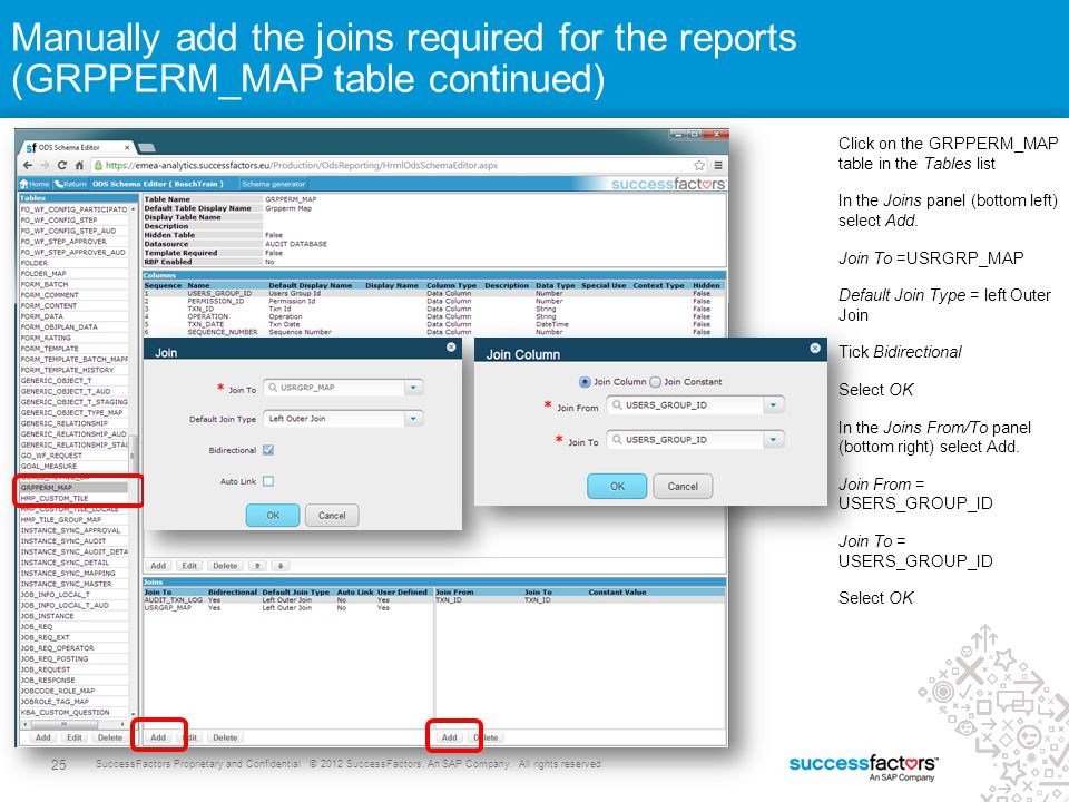 Manually add the joins required for the reports (GRPPERM_MAP table continued)