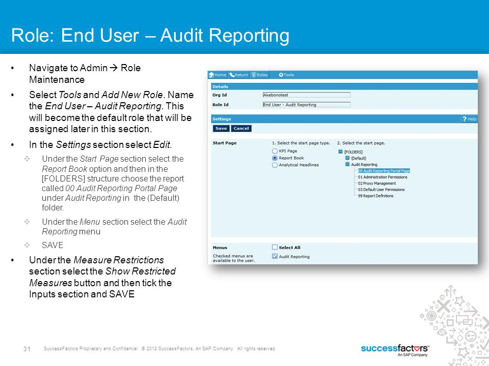 Role: End User – Audit Reporting