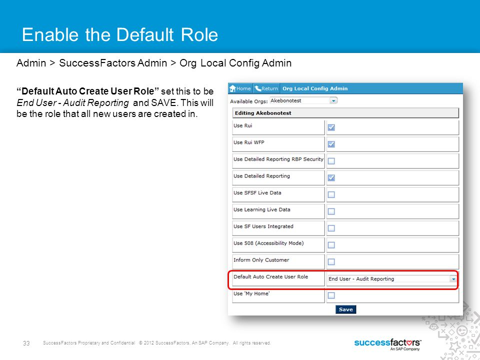 Enable the Default Role