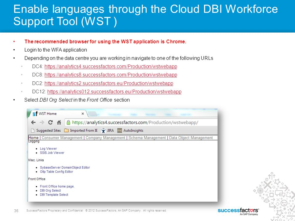 Enable languages through the Cloud DBI Workforce Support Tool (WST )