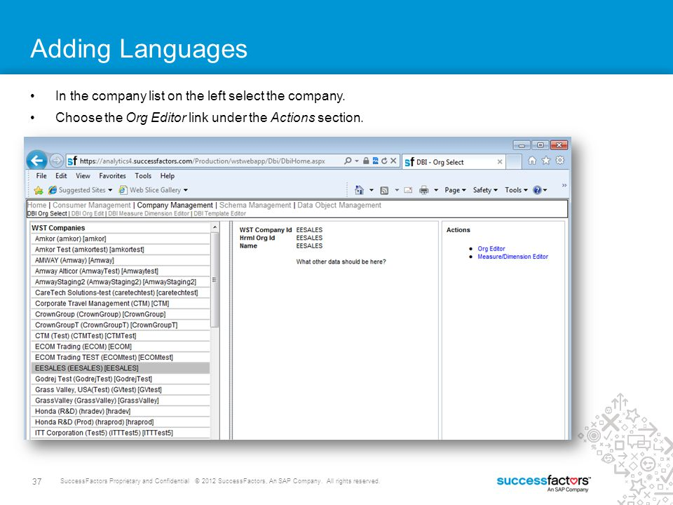 Adding Languages In the company list on the left select the company.