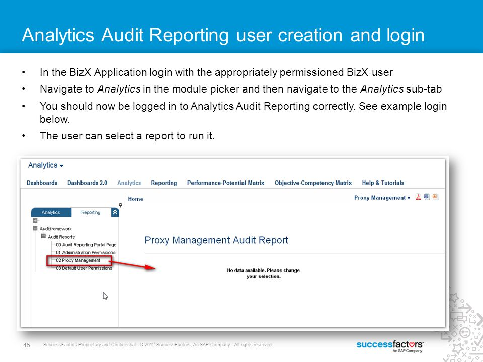 Analytics Audit Reporting user creation and login