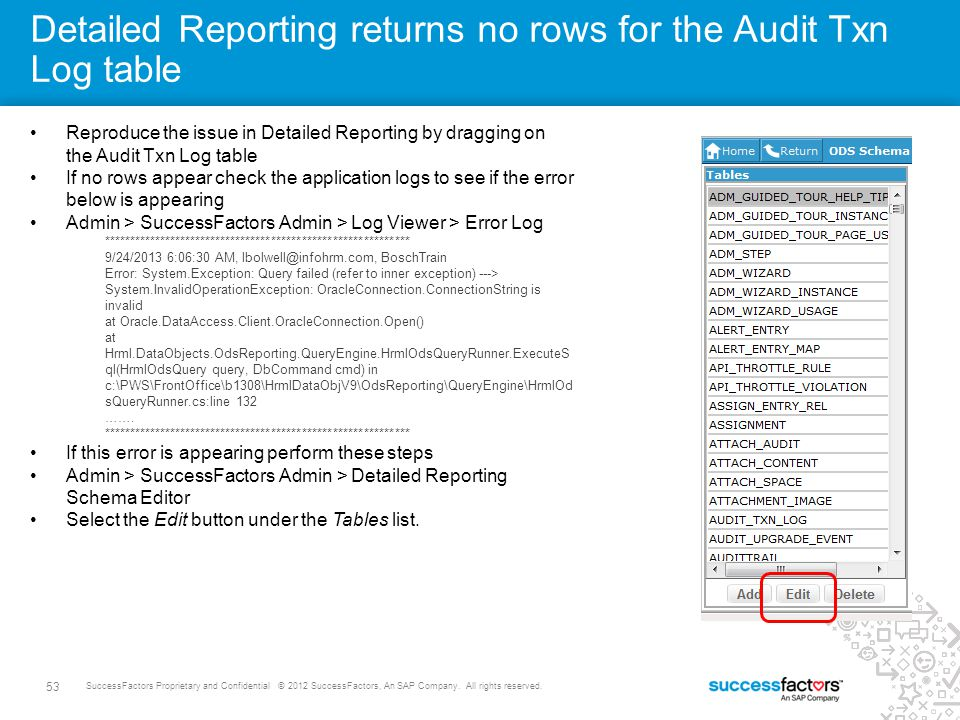 Detailed Reporting returns no rows for the Audit Txn Log table