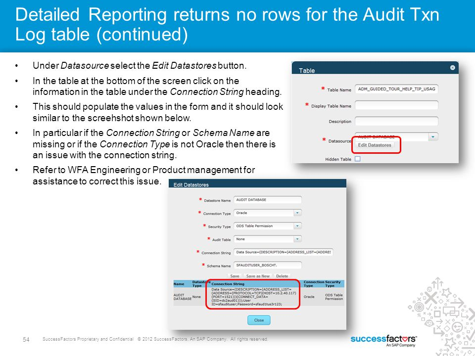 Detailed Reporting returns no rows for the Audit Txn Log table (continued)