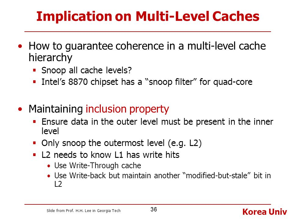 Implication on Multi-Level Caches