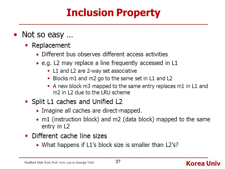 Inclusion Property Not so easy … Replacement