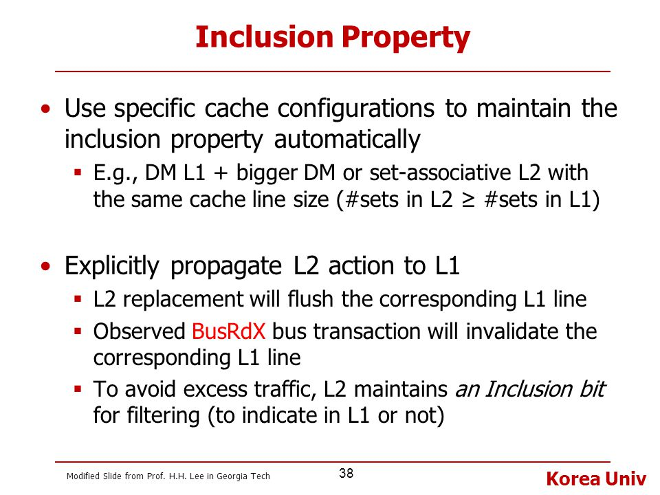 Inclusion Property Use specific cache configurations to maintain the inclusion property automatically.