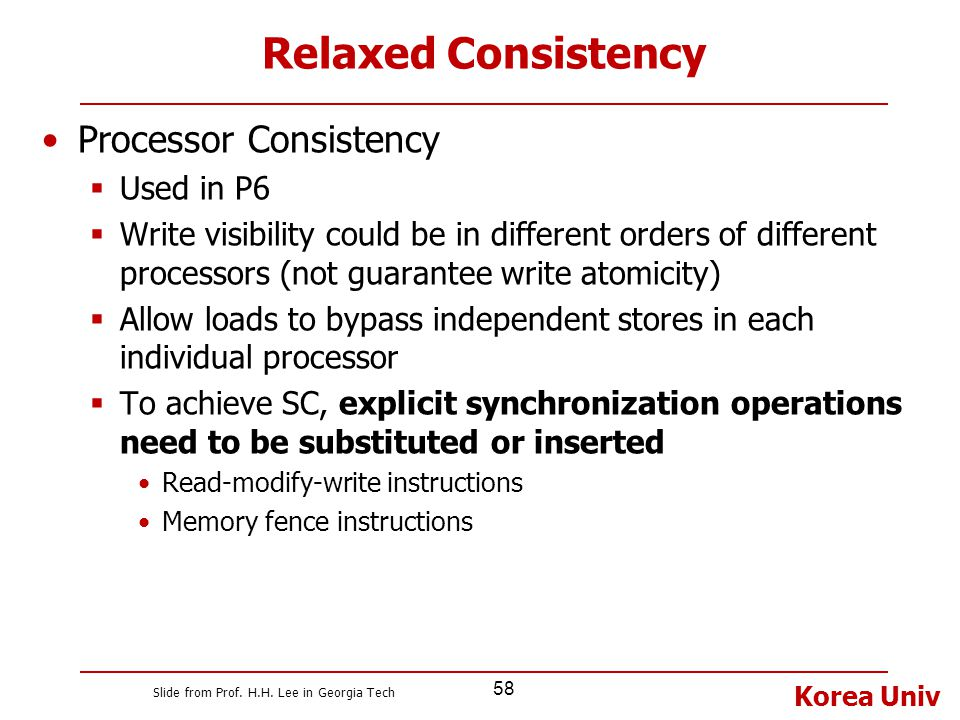 Relaxed Consistency Processor Consistency Used in P6