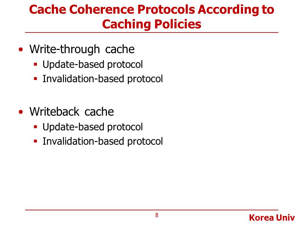 Cache Coherence Protocols According to Caching Policies
