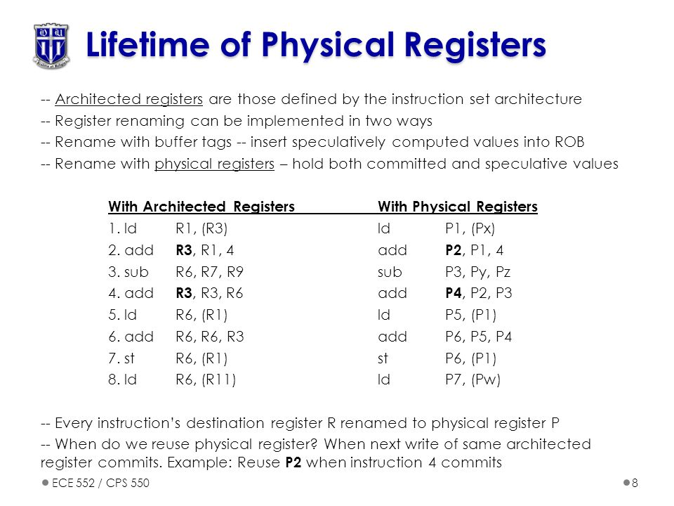 Lifetime of Physical Registers