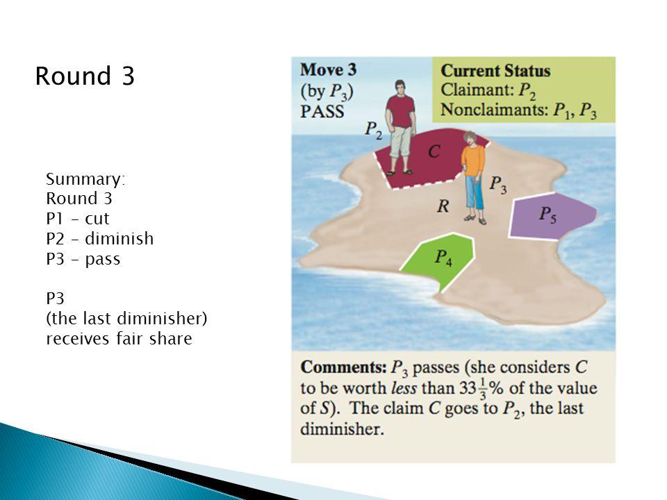 Round 3 Summary: Round 3 P1 – cut P2 – diminish P3 – pass P3