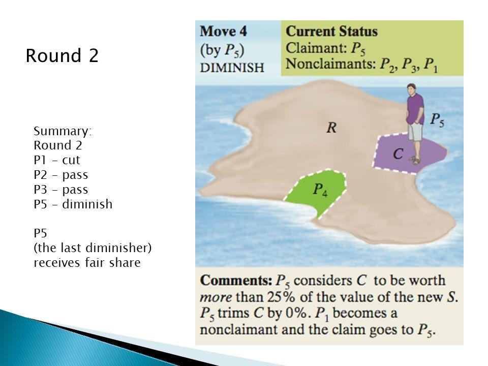 Round 2 Summary: Round 2 P1 – cut P2 – pass P3 – pass P5 – diminish P5