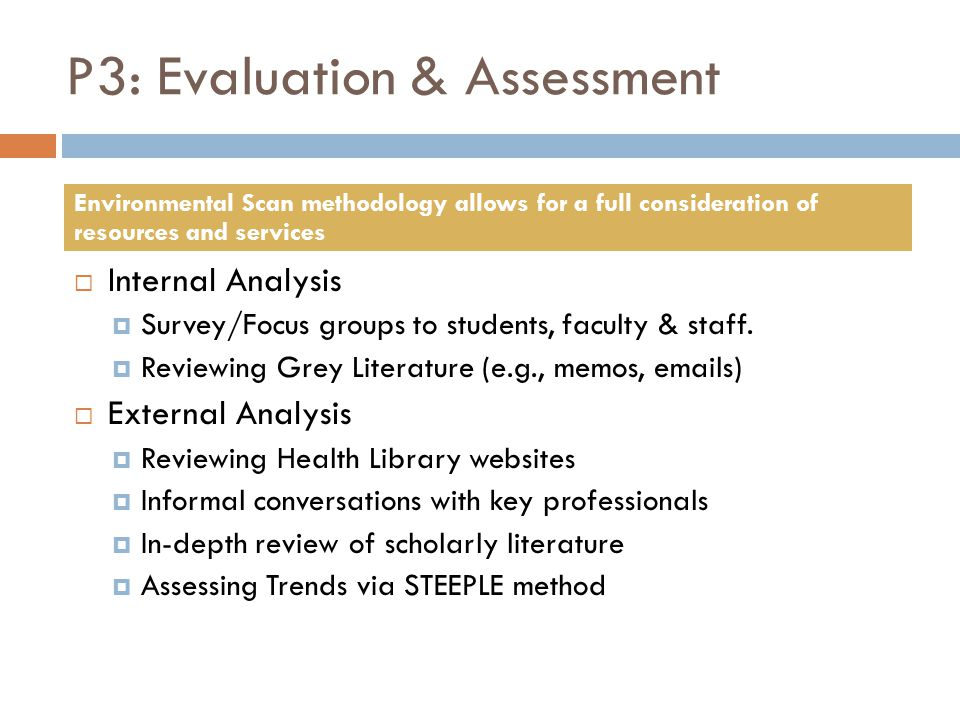 P3: Evaluation & Assessment