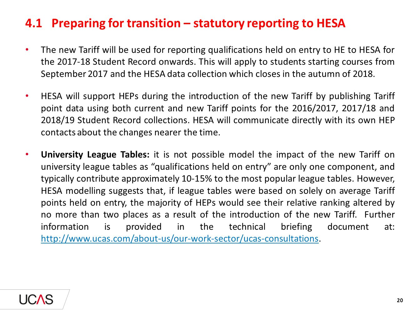 4.1 Preparing for transition – statutory reporting to HESA