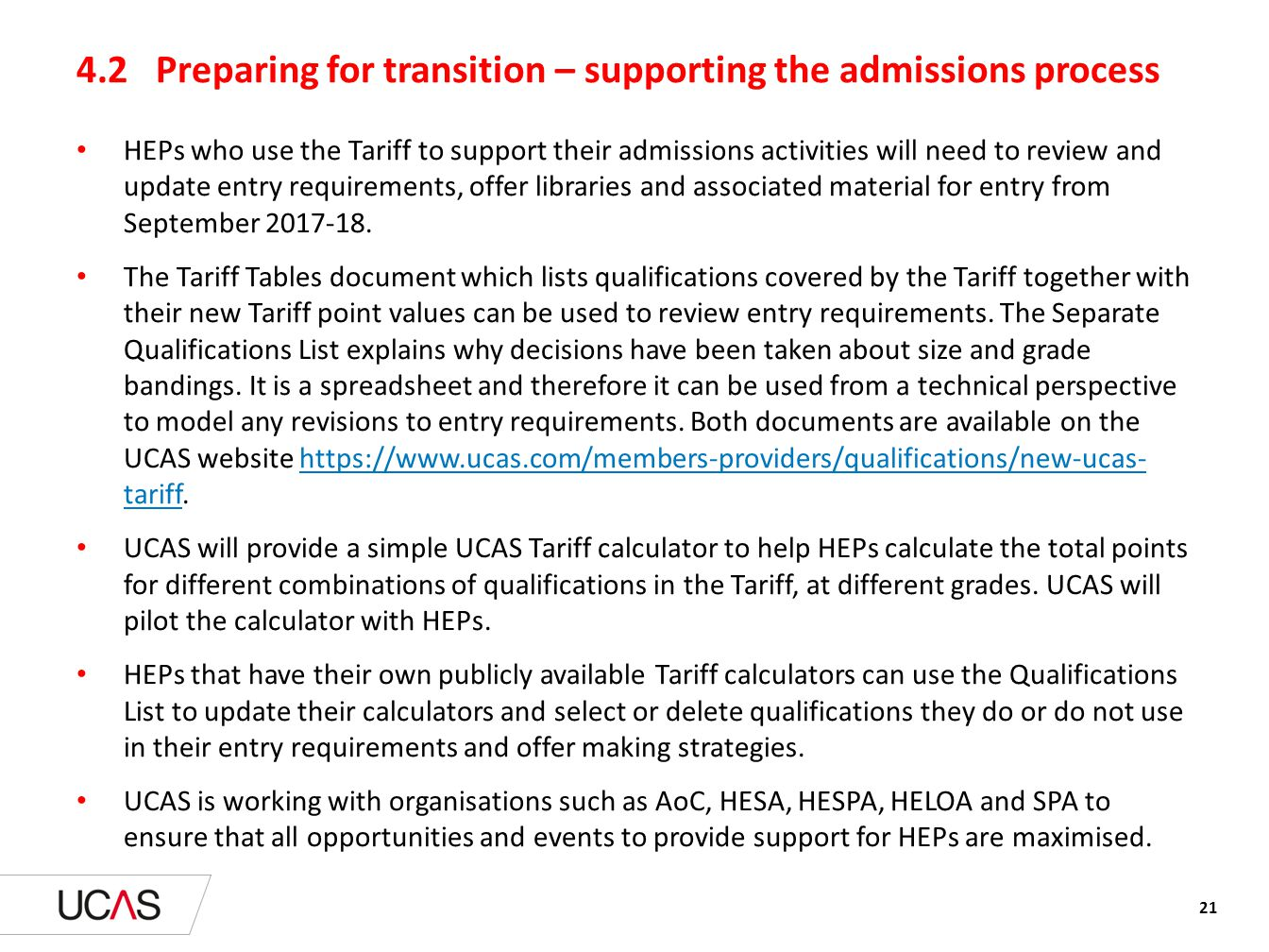 4.2 Preparing for transition – supporting the admissions process