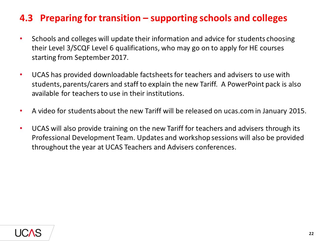4.3 Preparing for transition – supporting schools and colleges