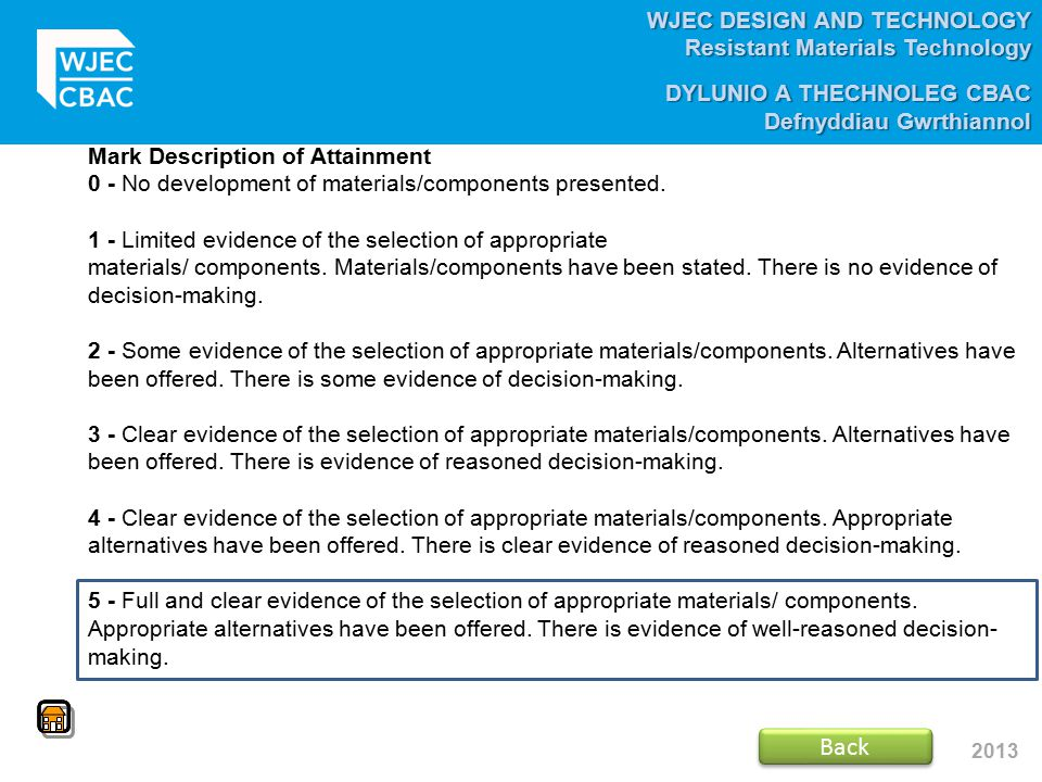 Back Mark Description of Attainment
