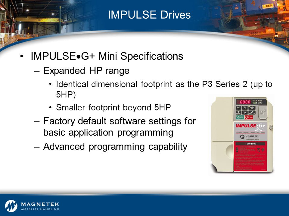 IMPULSE Drives IMPULSEG+ Mini Specifications Expanded HP range