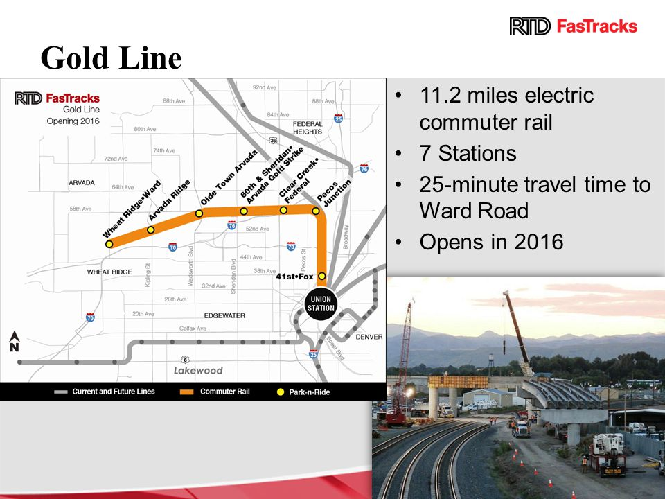 Gold Line 11.2 miles electric commuter rail 7 Stations