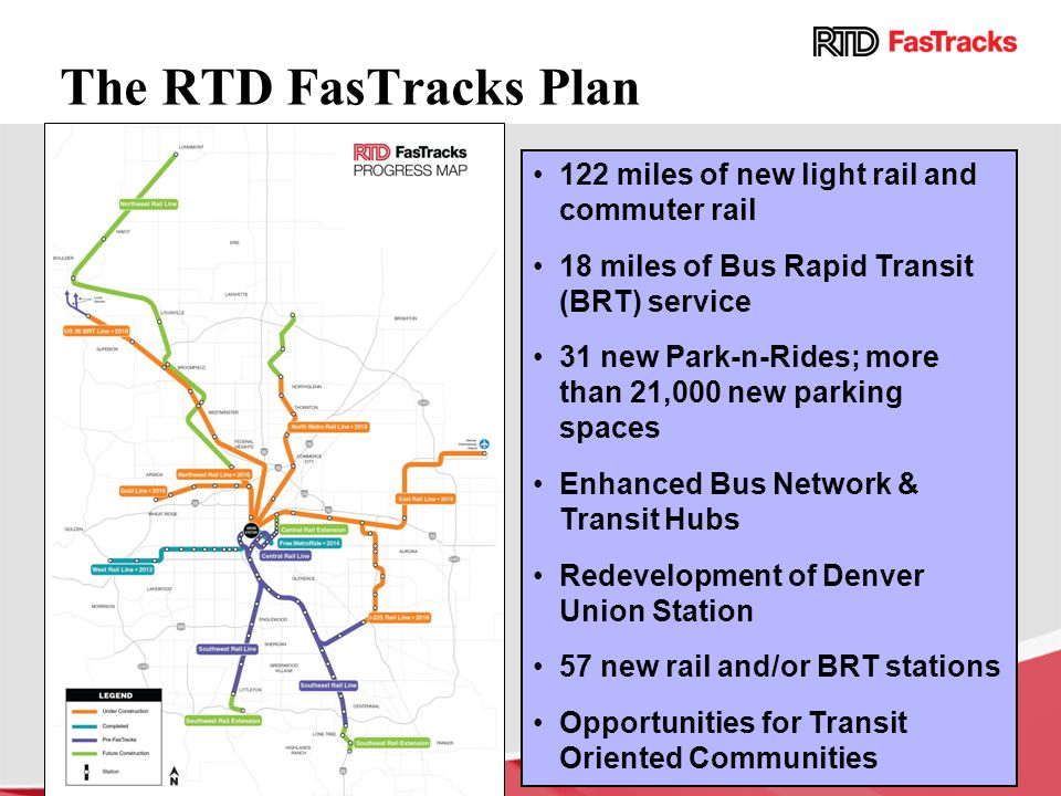 The RTD FasTracks Plan 122 miles of new light rail and commuter rail