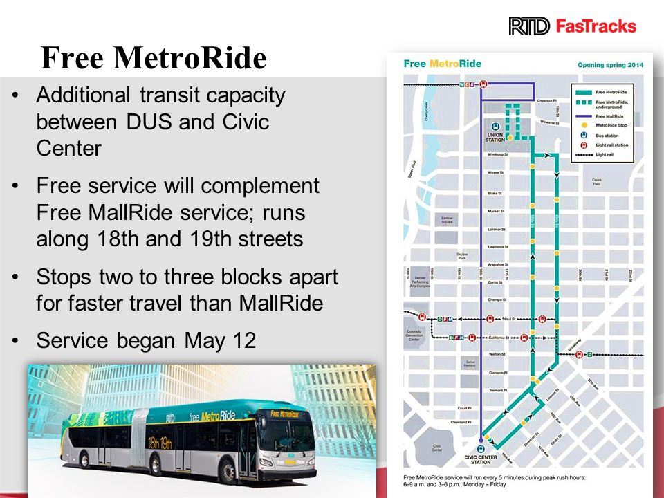 Free MetroRide Additional transit capacity between DUS and Civic Center.