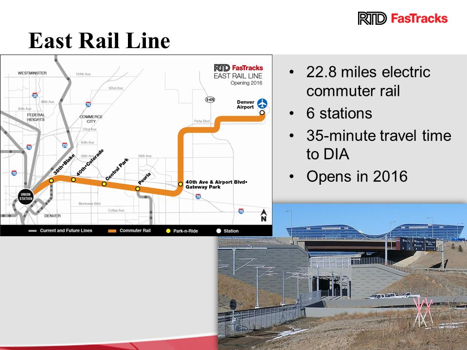 East Rail Line 22.8 miles electric commuter rail 6 stations