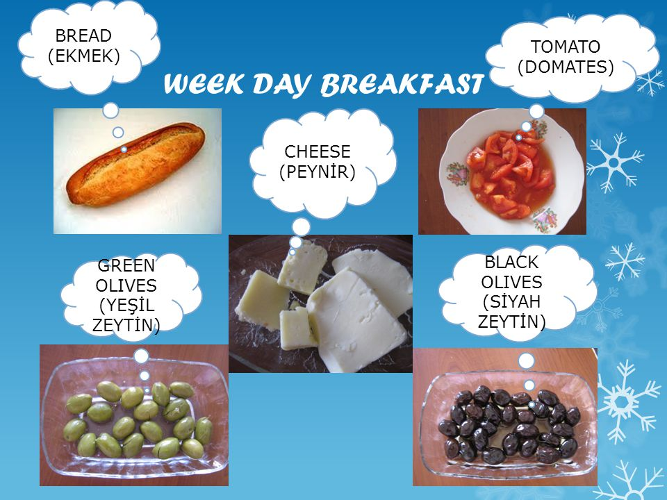 WEEK DAY BREAKFAST BREAD (EKMEK) TOMATO (DOMATES) CHEESE (PEYNİR)
