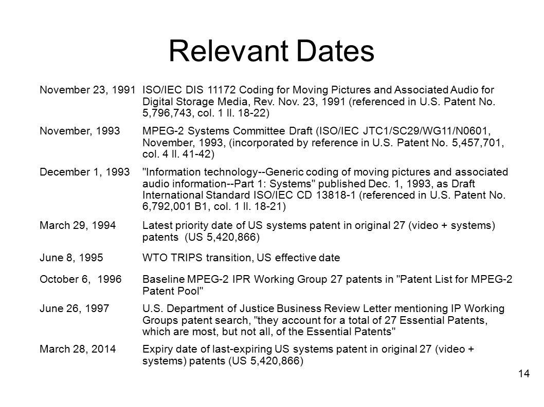 Relevant Dates November 23, 1991