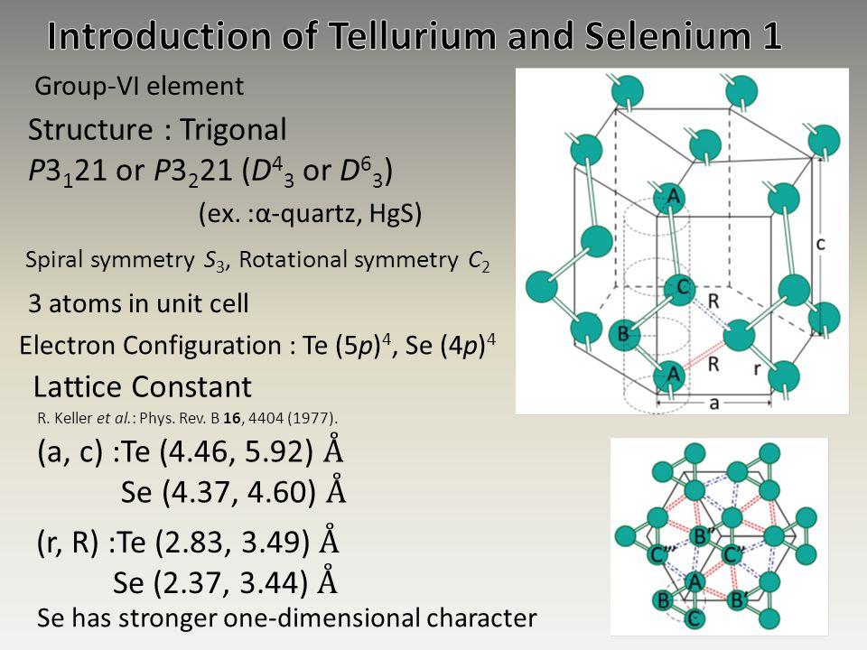 Introduction of Tellurium and Selenium 1