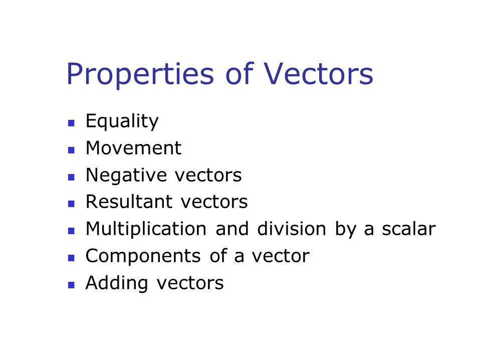 Properties of Vectors Equality Movement Negative vectors