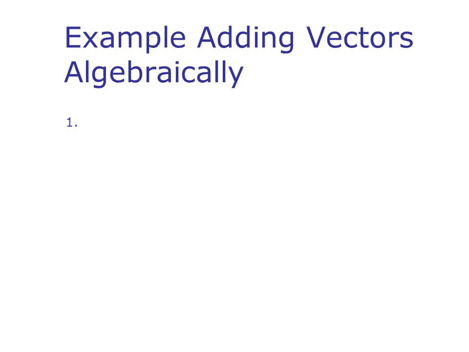 Example Adding Vectors Algebraically
