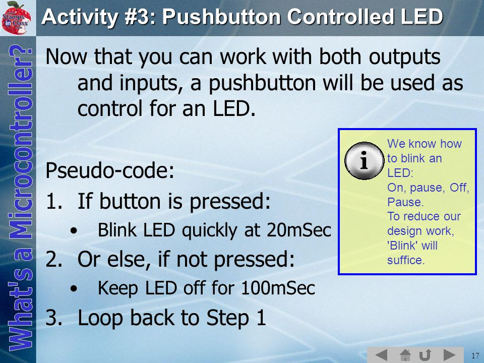Activity #3: Pushbutton Controlled LED