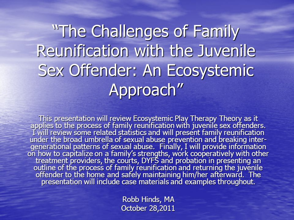 The Challenges of Family Reunification with the Juvenile Sex Offender: An Ecosystemic Approach