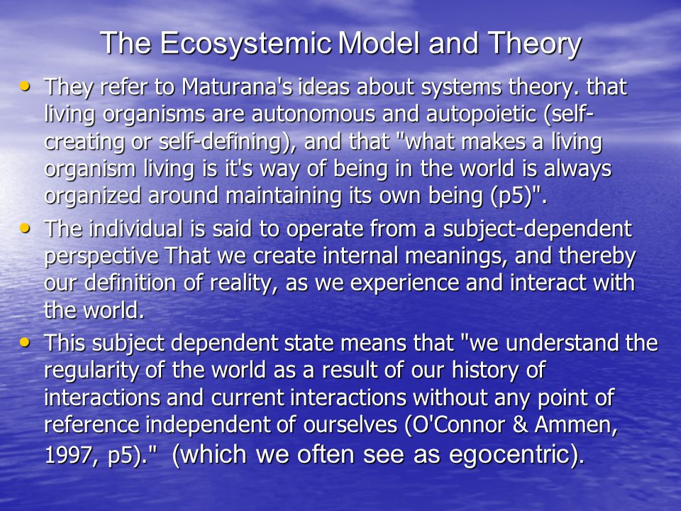 The Ecosystemic Model and Theory