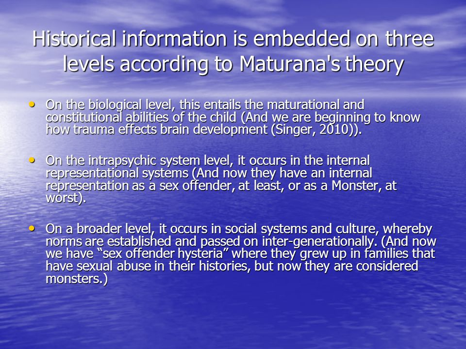Historical information is embedded on three levels according to Maturana s theory