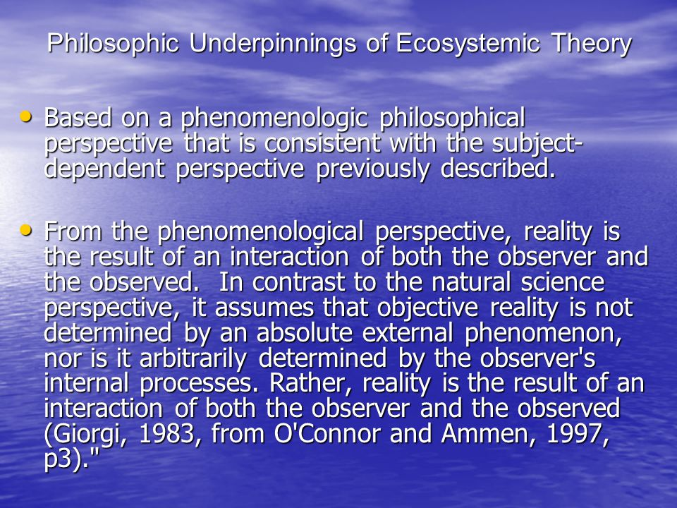 Philosophic Underpinnings of Ecosystemic Theory
