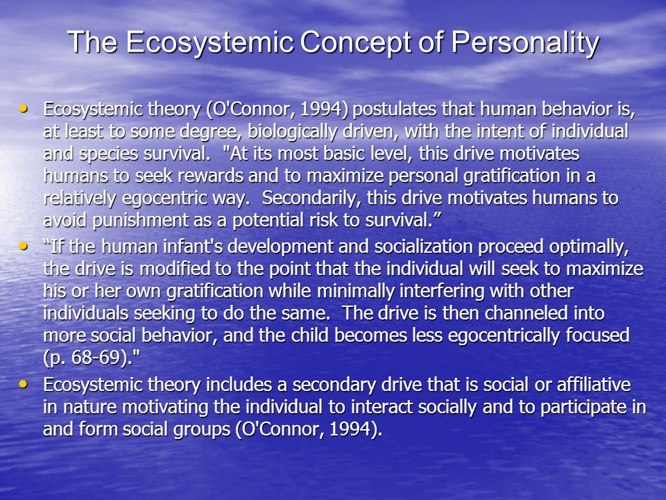 The Ecosystemic Concept of Personality