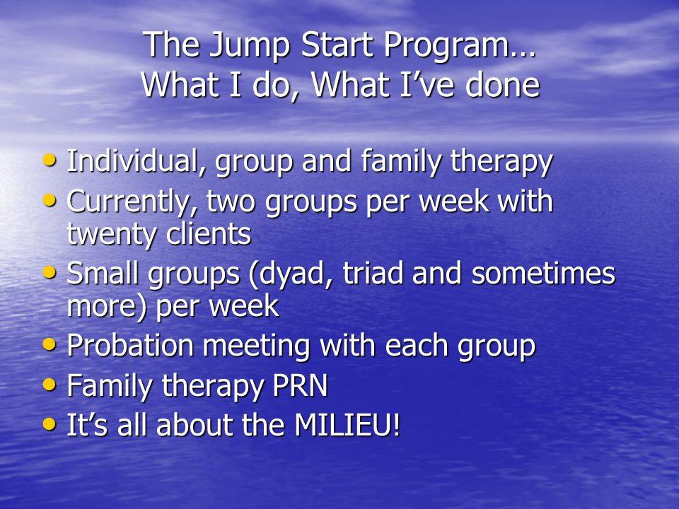 The Jump Start Program… What I do, What I've done