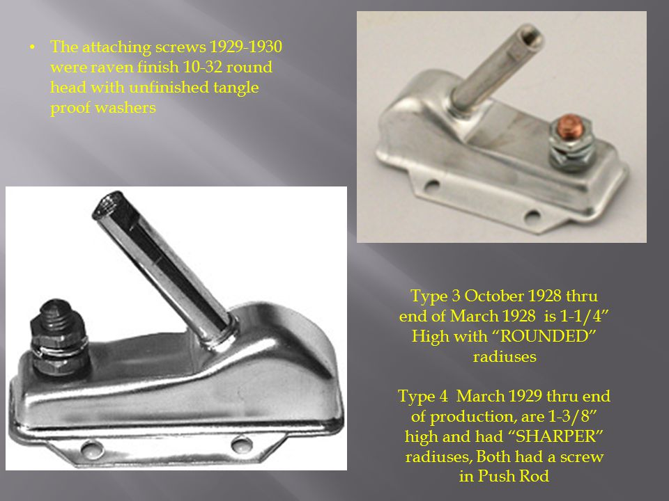 The attaching screws 1929-1930 were raven finish 10-32 round head with unfinished tangle proof washers