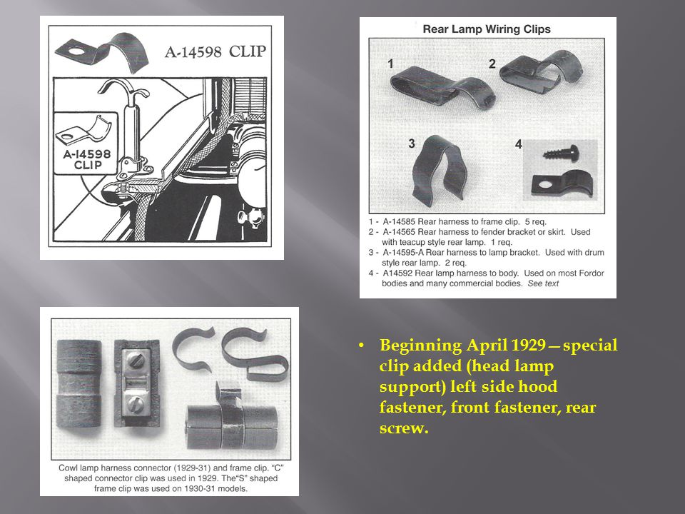 Beginning April 1929—special clip added (head lamp support) left side hood fastener, front fastener, rear screw.