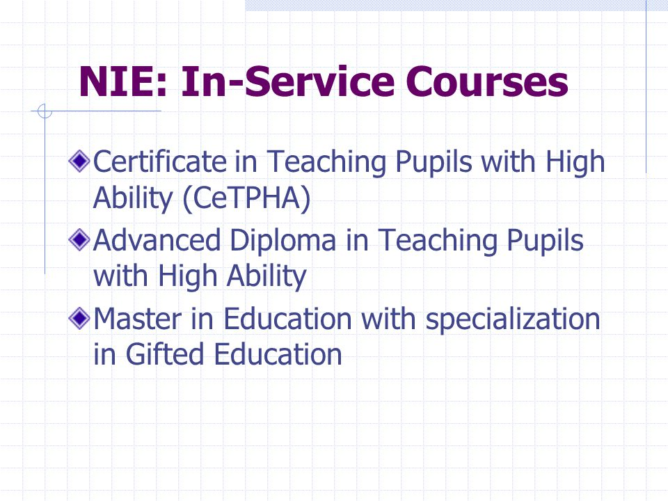 NIE: In-Service Courses