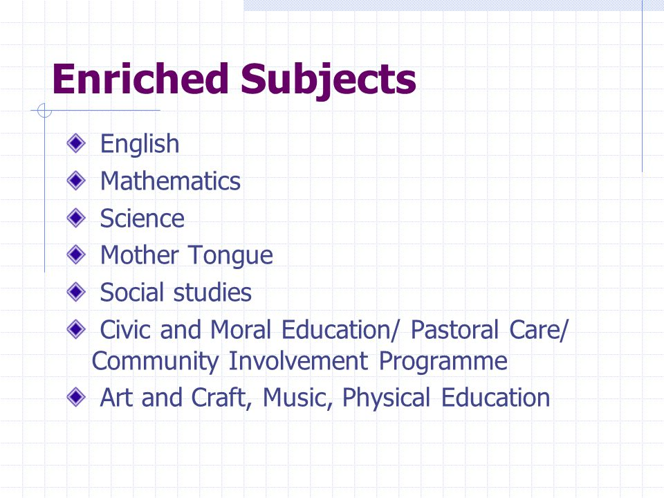 Enriched Subjects English Mathematics Science Mother Tongue